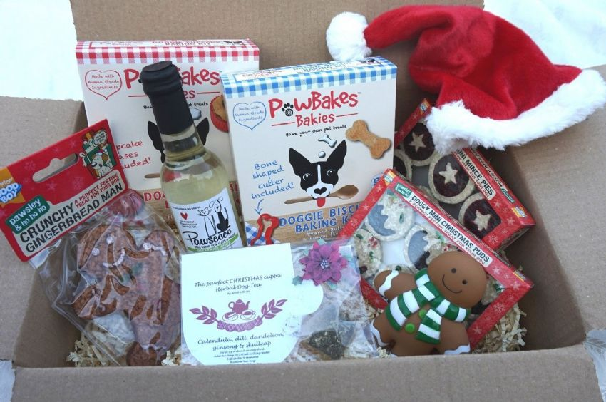 CHRISTMAS DOG PARTY GIFT HAMPER WITH WINE FESTIVE TREATS BAKING KITS HAT & TOY